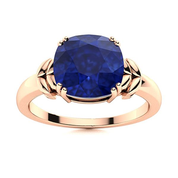 Natural 2.96 CTW Sapphire Solitaire Ring 14K Rose Gold
