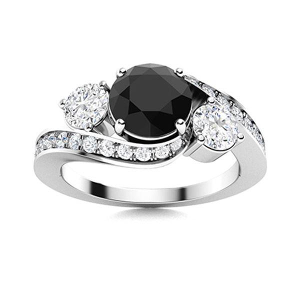 Natural 1.51 CTW Black & White Diamond Engagement Ring 14K White Gold