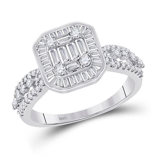 14kt White Gold Womens Baguette Diamond Square Cluster Ring 7/8 Cttw