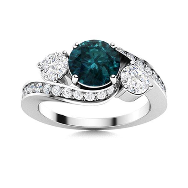 Natural 1.51 CTW Blue & White Diamond Engagement Ring 14K White Gold