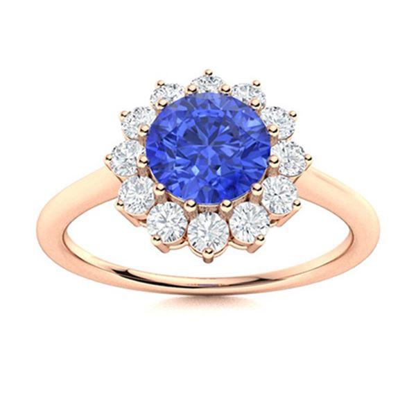 Natural 1.37 CTW Ceylon Sapphire & Diamond Engagement Ring 14K Rose Gold