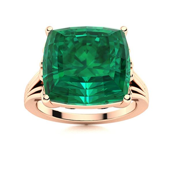Natural 4.64 CTW Emerald Solitaire Ring 18K Rose Gold