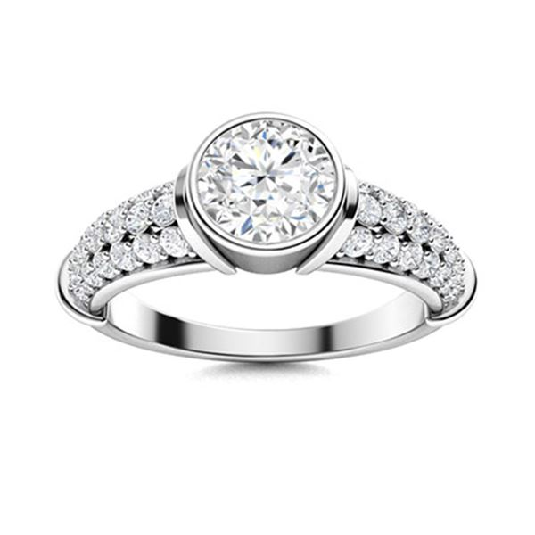 Natural 2.07 CTW Diamond Solitaire Ring 18K White Gold