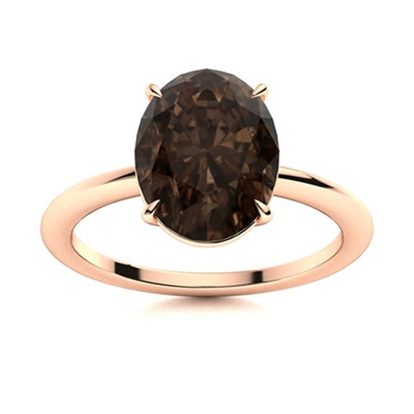 Natural 6.02 CTW Smoky Quartz Solitaire Ring 18K Rose Gold