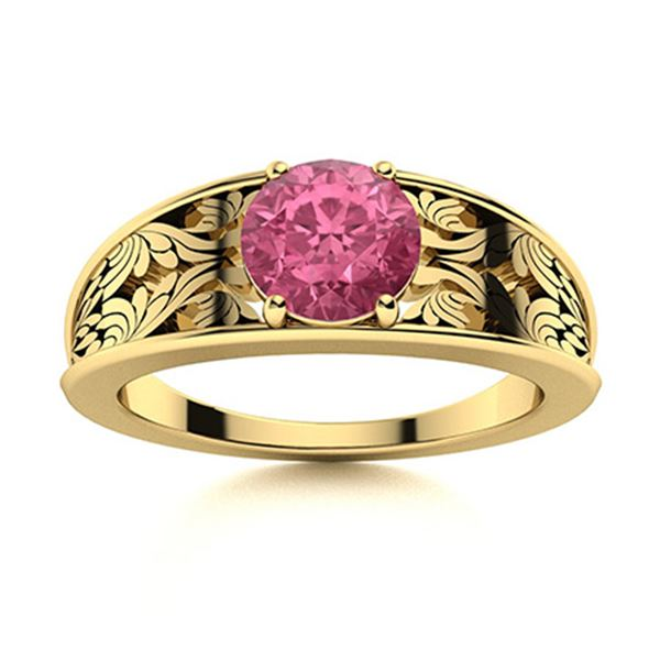 Natural 0.61 CTW Tourmaline Solitaire Ring 14K Yellow Gold