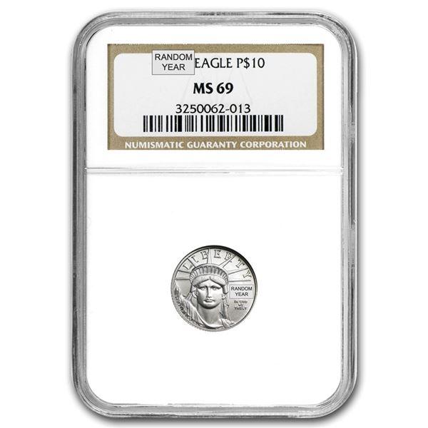 1/10 oz Platinum American Eagle MS-69 NGC (Random Year)