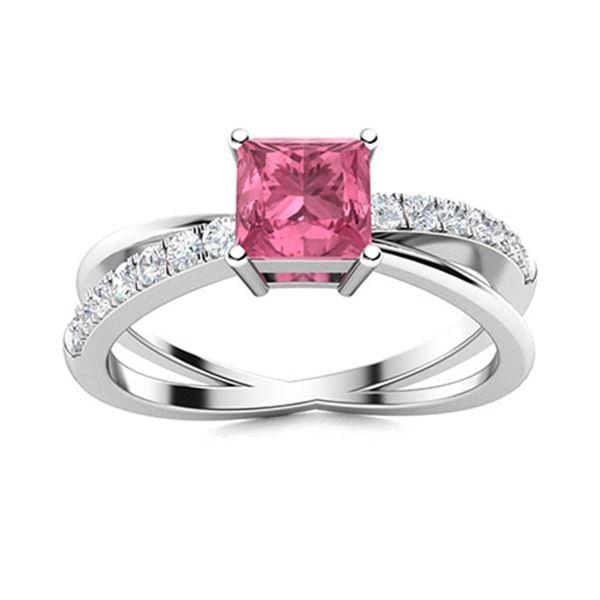 Natural 1.12 CTW Tourmaline & Diamond Engagement Ring 18K White Gold