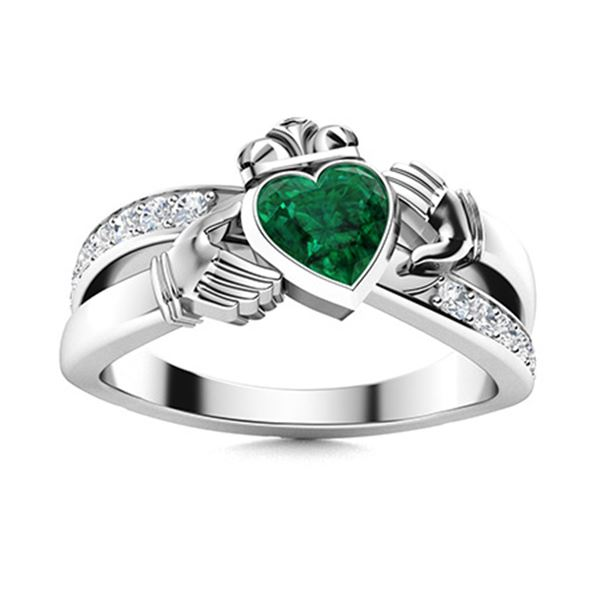 Natural 1.77 CTW Emerald & Diamond Engagement Ring 18K White Gold