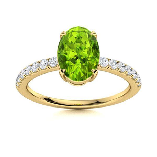 Natural 2.47 CTW Peridot & Diamond Engagement Ring 18K Yellow Gold