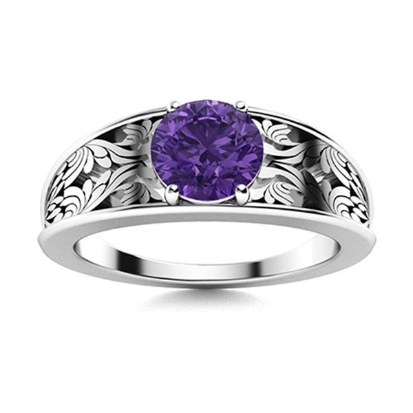 Natural 0.71 CTW Amethyst Solitaire Ring 14K White Gold