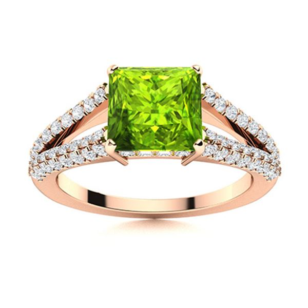 Natural 1.18 CTW Peridot & Diamond Engagement Ring 14K Rose Gold