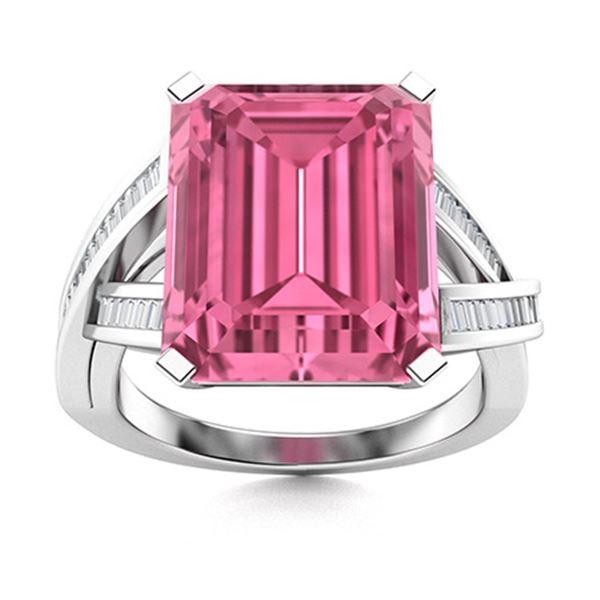 Natural 4.42 CTW Tourmaline & Diamond Engagement Ring 18K White Gold