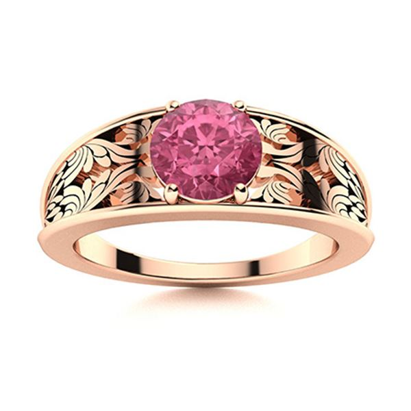 Natural 0.71 CTW Tourmaline Solitaire Ring 14K Rose Gold