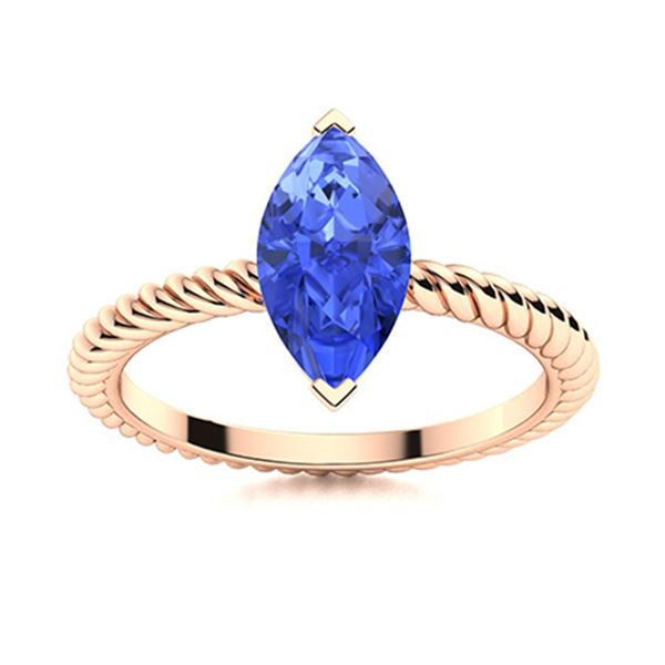Natural 0.24 CTW Ceylon Sapphire Solitaire Ring 18K Rose Gold