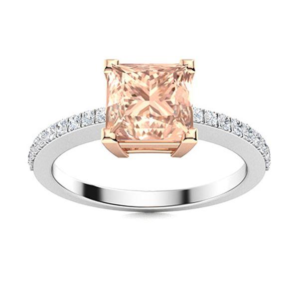 Natural 0.99 CTW Morganite & Diamond  Engagement Ring 14K White Gold