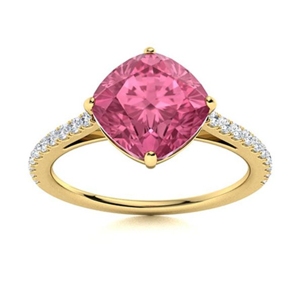 Natural 1.71 CTW Tourmaline & Diamond Engagement Ring 14K Yellow Gold