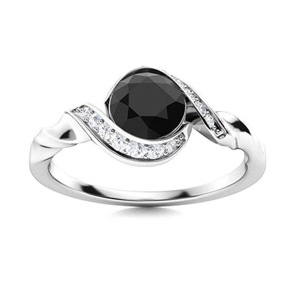 Natural 0.95 CTW Black & White Diamond Engagement Ring 18K White Gold