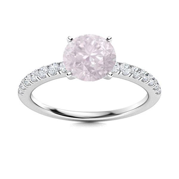 Natural 0.96 CTW Rose Quartz & Diamond Engagement Ring 14K White Gold