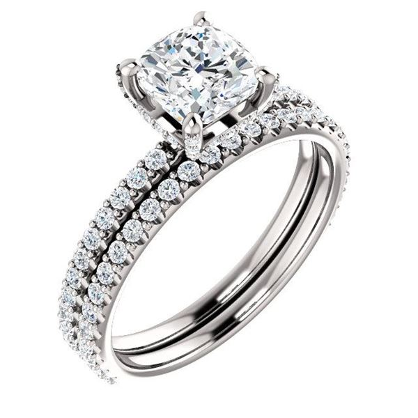 Natural 2.02 CTW Under-Halo Cushion Cut Diamond Ring 18KT White Gold