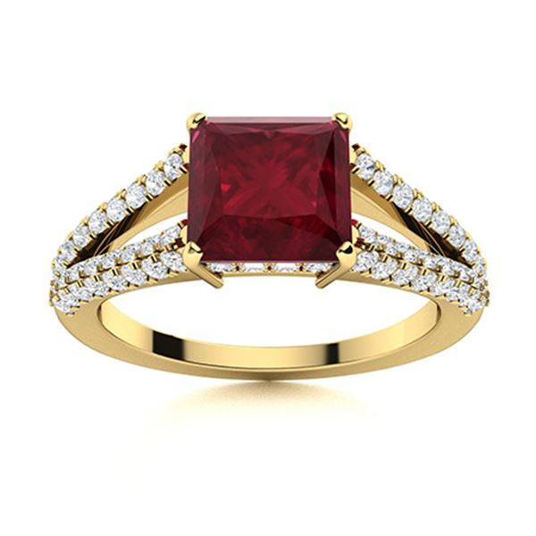 Natural 1.40 CTW Ruby & Diamond Engagement Ring 18K Yellow Gold