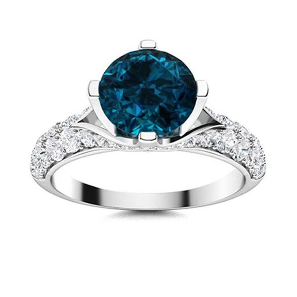 Natural 1.87 CTW Topaz & Diamond Engagement Ring 14K White Gold