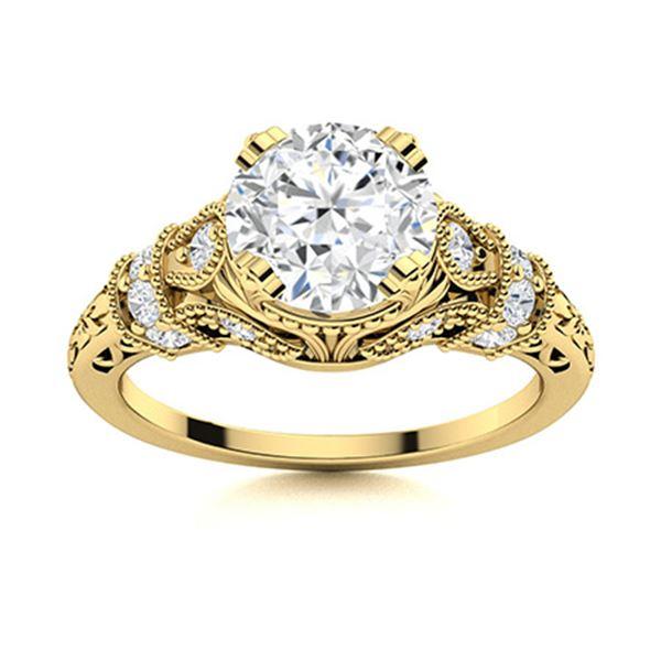 Natural 1.16 CTW White Sapphire & Diamond Engagement Ring 18K Yellow Gold
