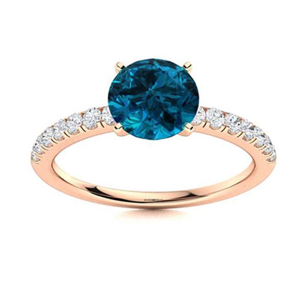 Natural 1.46 CTW Topaz & Diamond Engagement Ring 14K Rose Gold