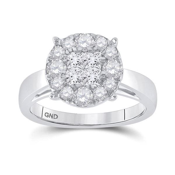 14kt White Gold Princess Diamond Cluster Bridal Wedding Engagement Ring 1 Cttw