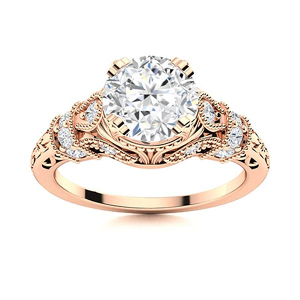 Natural 1.16 CTW Diamond Solitaire Ring 18K Rose Gold
