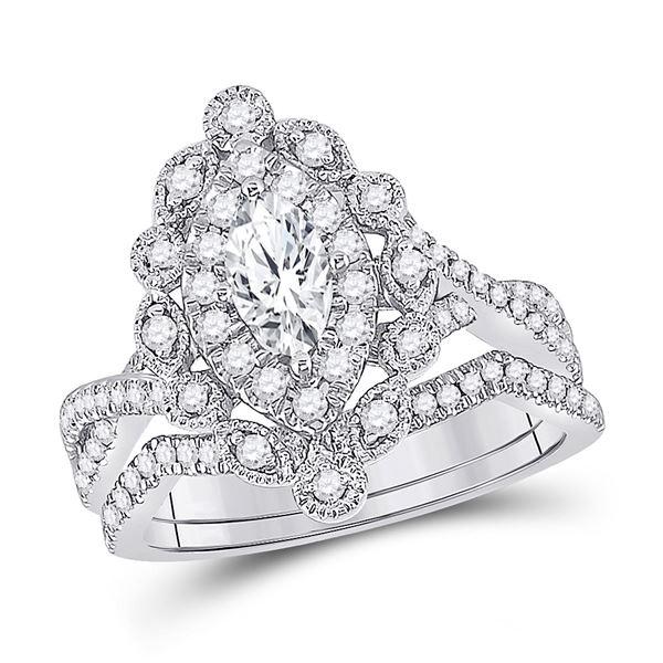 14kt White Gold Marquise Diamond Bridal Wedding Ring Band Set 1 Cttw