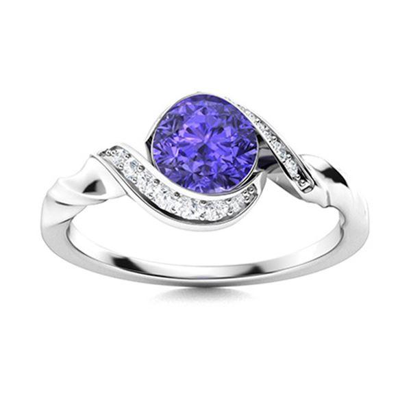 Natural 1.19 CTW Tanzanite & Diamond Engagement Ring 18K White Gold