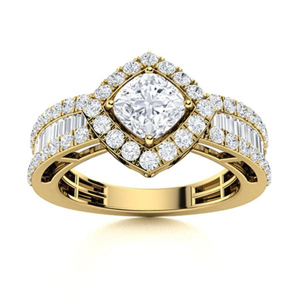 Natural 2.21 CTW Diamond Solitaire Ring 18K Yellow Gold