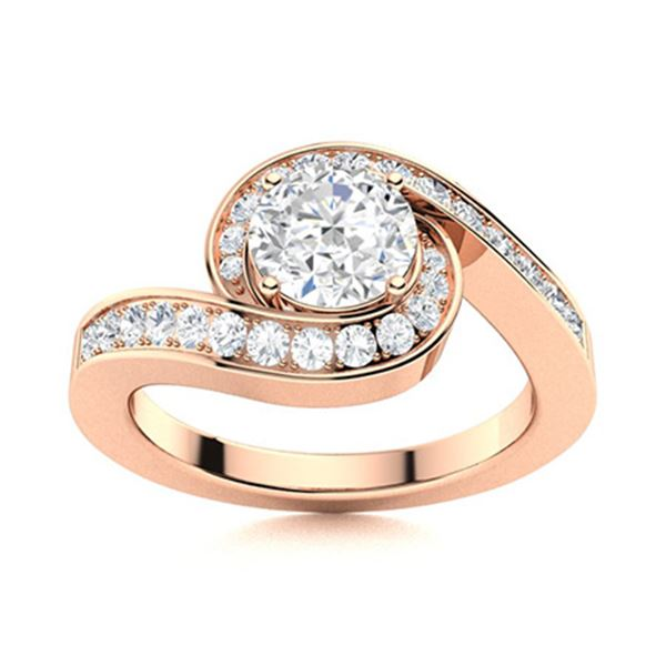 Natural 1.19 CTW Diamond Solitaire Ring 14K Rose Gold