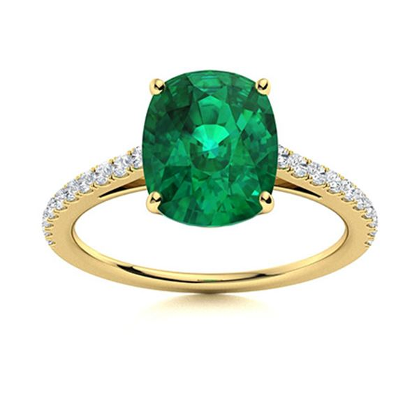 Natural 2.63 CTW Emerald & Diamond Engagement Ring 14K Yellow Gold