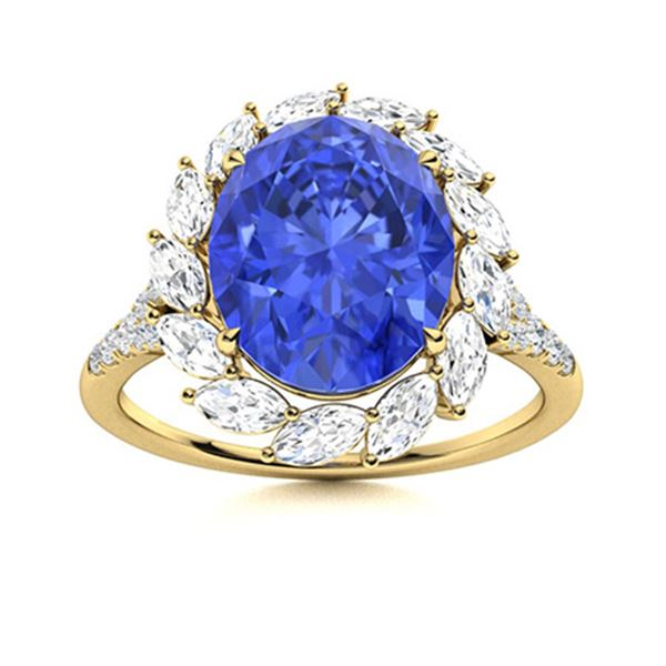Natural 4.90 CTW Ceylon Sapphire & Diamond Engagement Ring 14K Yellow Gold