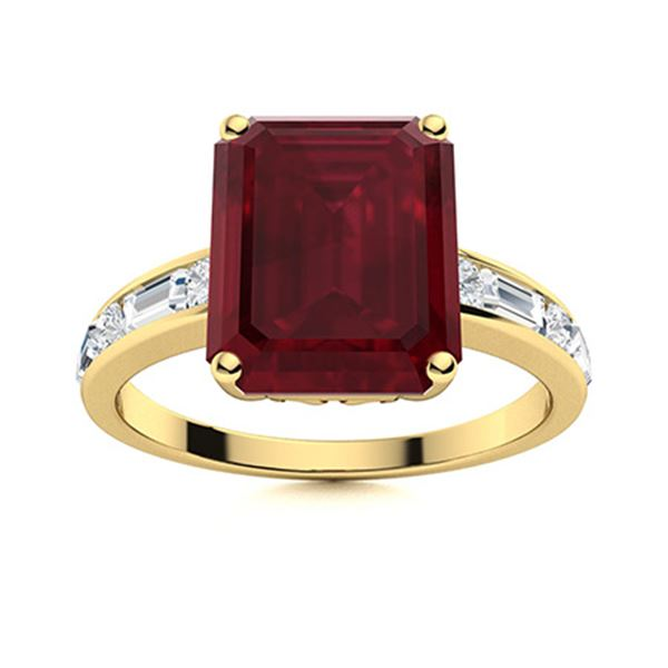 Natural 4.34 CTW Ruby & Diamond Engagement Ring 18K Yellow Gold