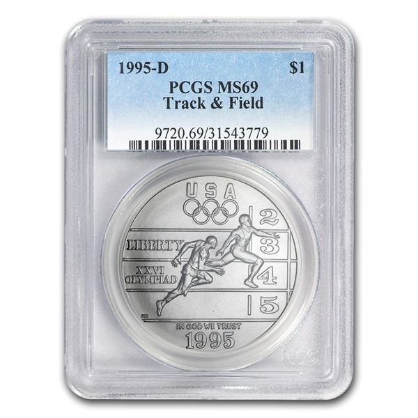 1995-D Olympic Track and Field $1 Silver Commem MS-69 PCGS