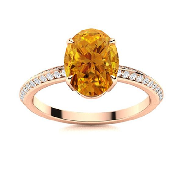 Natural 3.46 CTW Citrine & Diamond Engagement Ring 18K Rose Gold