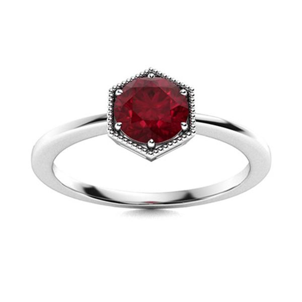 Natural 0.58 CTW Ruby Solitaire Ring 14K White Gold
