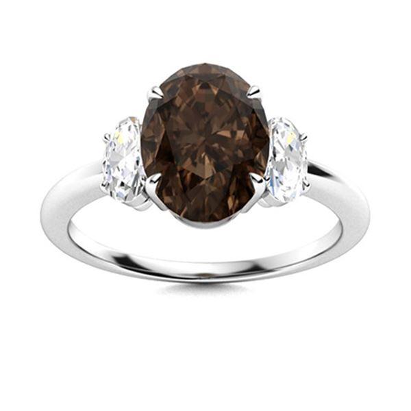Natural 5.79 CTW Smoky Quartz & Diamond Engagement Ring 14K White Gold