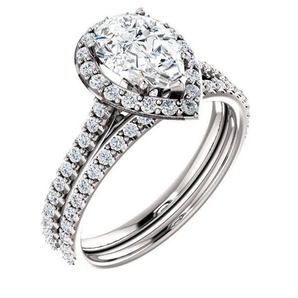 Natural 2.52 CTW Halo Teardrop Pear Cut Diamond Engagement Set 18KT White Gold