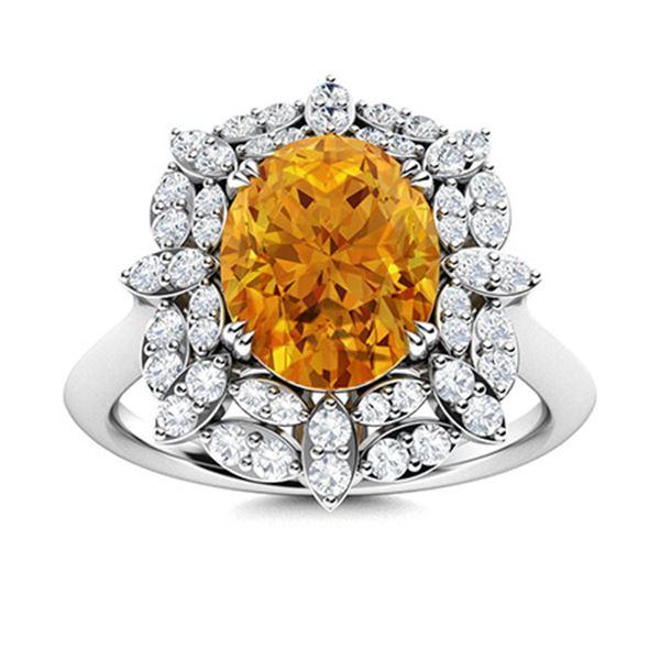 Natural 1.95 CTW Citrine & Diamond Engagement Ring 14K White Gold