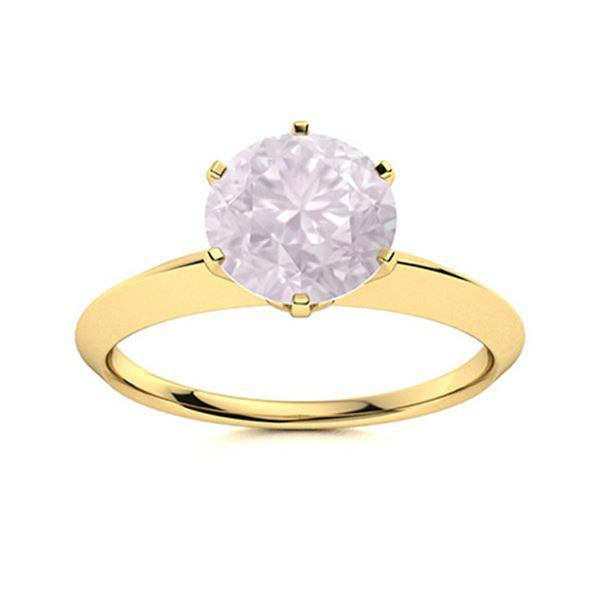 Natural 2.52 CTW Rose Quartz Solitaire Ring 18K Yellow Gold