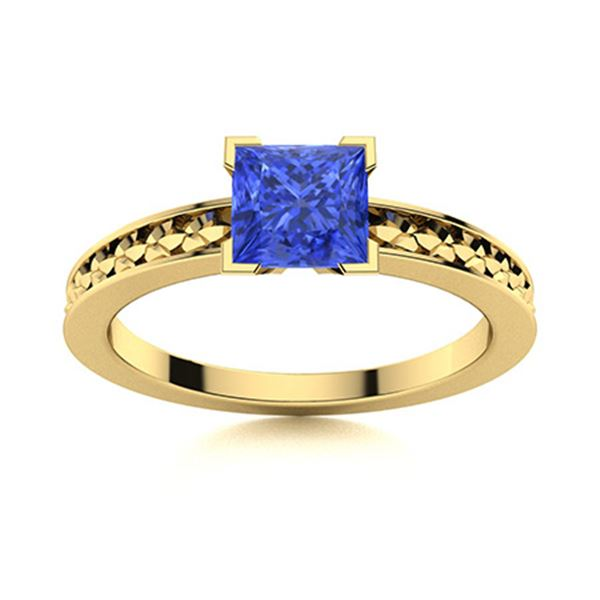Natural 0.97 CTW Ceylon Sapphire Solitaire Ring 18K Yellow Gold