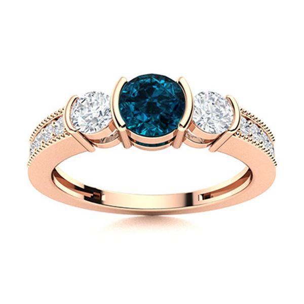 Natural 0.82 CTW Topaz & Diamond Engagement Ring 18K Rose Gold
