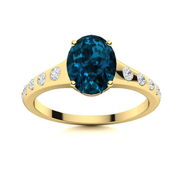 Natural 4.19 CTW Topaz & Diamond Engagement Ring 14K Yellow Gold