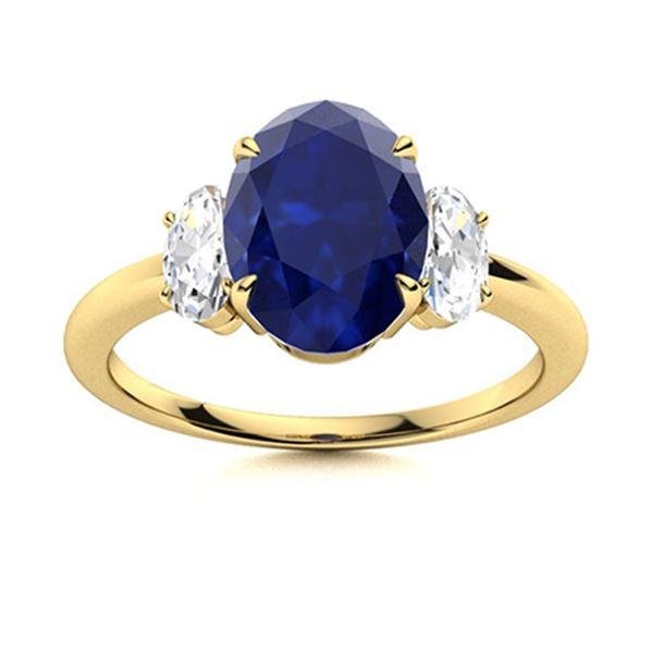 Natural 2.45 CTW Sapphire & Diamond Engagement Ring 18K Yellow Gold