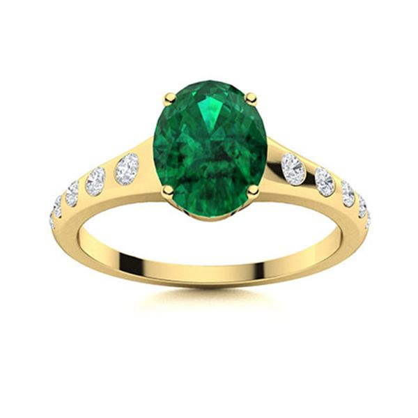Natural 2.47 CTW Emerald & Diamond Engagement Ring 18K Yellow Gold