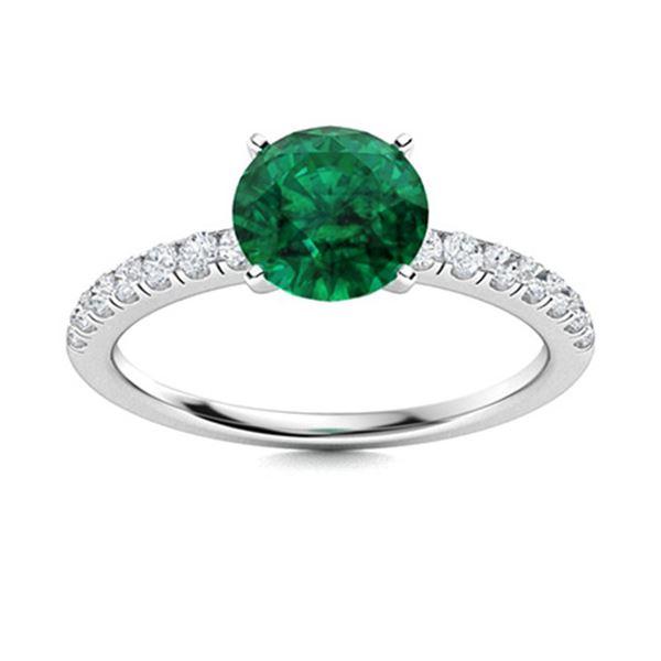 Natural 1.01 CTW Emerald & Diamond Engagement Ring 14K White Gold