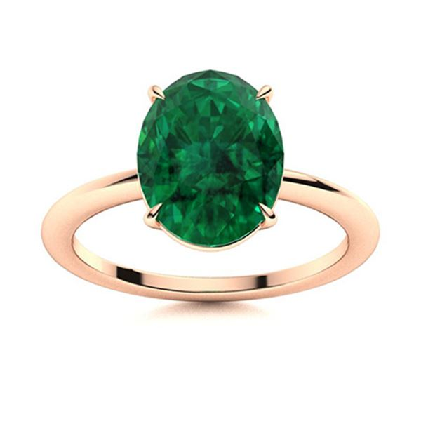 Natural 2.30 CTW Emerald Solitaire Ring 14K Rose Gold